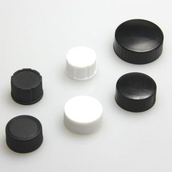 24-400 Black,Closed Top PP Cap w/22mm Natural PTFE/White Silicone Septa 1.5mm thick, 100pcs/pack