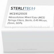 Nitrocellulose Mixed Ester (MCE) Syringe Filters, Sterile, 0,45 Micron, 25mm, 50/pk