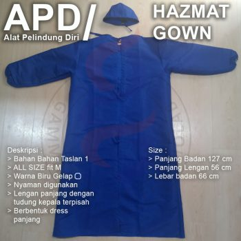 Baju APD Gown Taslan 1 all size fit M Biru Gelap